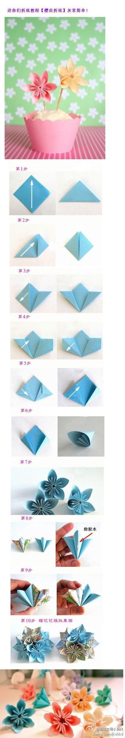 Origami Cherry Blossoms | 2KidslandKrafts - photo#35