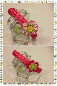06 Ribbon headband with flower hair clips