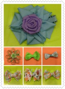 12 Ribbon hair clips