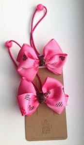 Pink Heart Ribbon Hair Tie Set of 2