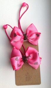 Pink Heart Ribbon Hair Tie Set of 2