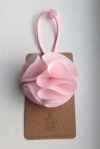 Pink Silky Flower Hair Tie