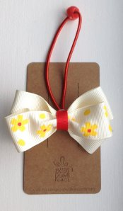 Yellow Floral Bow Hair Tie